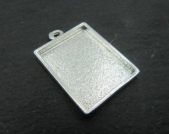 17x21X2mm rectangle pendant - tin silver finish 925