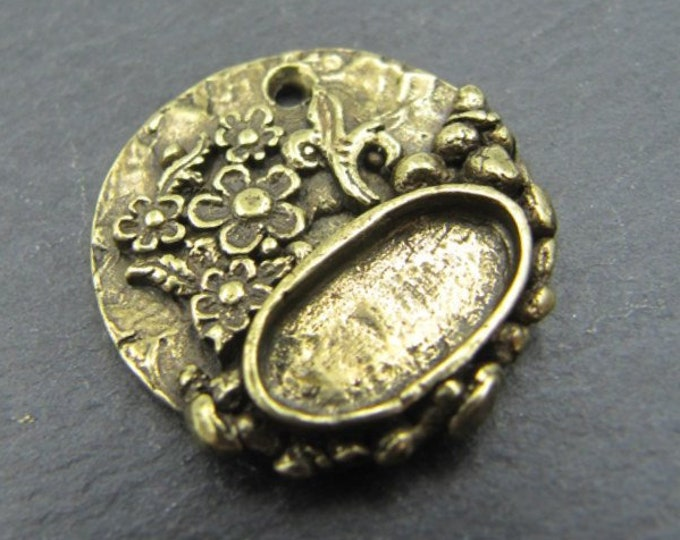 Support round pendant with small flowers o22mm with 7x14mm mm Tin finish brass Bowl
