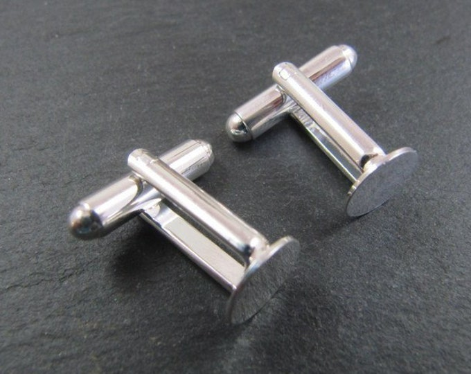 Cufflinks with tray round ø9mm - brass finish Silver 925