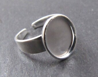 8x10X1.5mm silver finish oval children's ring