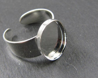 10x14x1.5mm oval ring support in brass silver finish 925 - Made in France