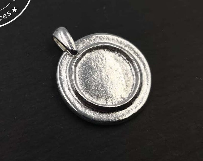 Pendant holder with beaker '24mm' with bowl of '15x1.5mm - silver finish tin 925 - Made in France