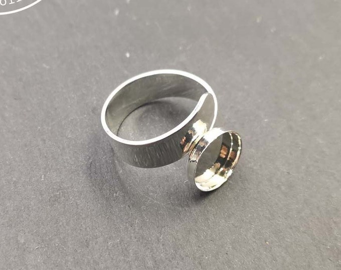New - Support double ring 6mm wide with 10x2mm brass bowl silver finish 925