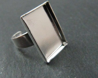 Support ring child rectangle 925 Silver finish brass 10x15mm
