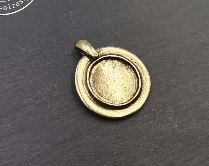 Pendant holder with beaker '24mm' with bowl of '15x1.5mm - brass-finished tin - Made in France