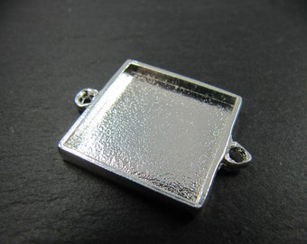Connector 19x19x2mm - Tin finish 925 sterling silver