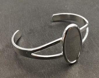 End of stock - Support bracelet with a cup of 14x29mm - silver