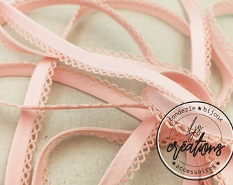 1m of folded frilly bias 8mm - Light pink - reel end