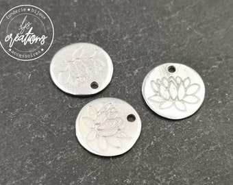 Lotus Medal - raw tin - made in france