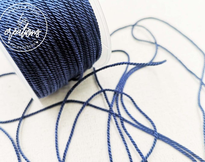 "2m braided cord 2 strands rope type ""Marine Blue"" - 1.5mm"