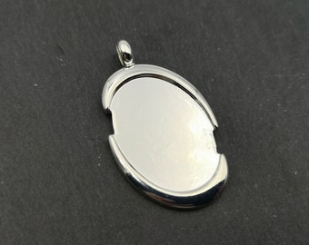 End of stock - Oval Pendant - tray 18x25mm - silver
