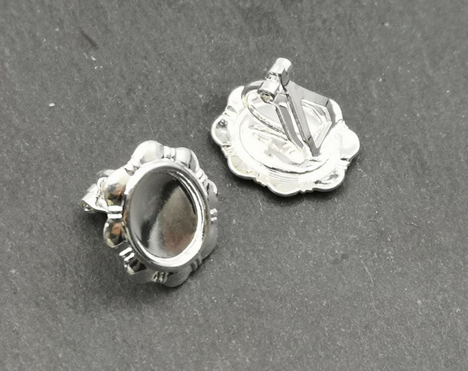 End of stock - Support earrings clips - oval with 8x10mm - Metal Bowl
