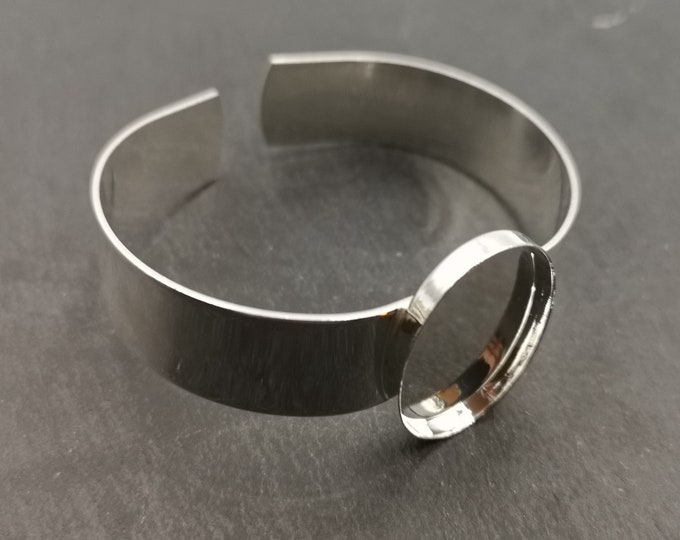 Made in France - Ribbon Bracelet 13mm and oval Bowl 18 x 25 x 2, 5mm - 925 Silver finish brass