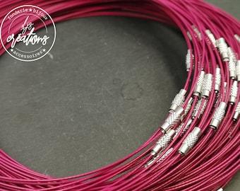 "1 neck neck cable ""Rose fuschia"" - 45cm"