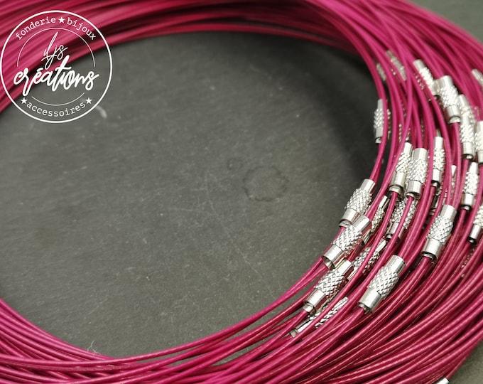 """1 round neck cable """"Rose fuschia"""" - 45cm"""