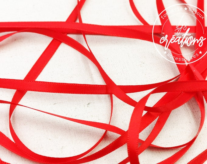 About 5m - 6mm satin ribbon - Red (already cut)