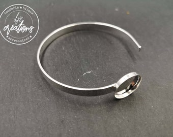 5x2mm ribbon bracelet with bowl - 15x1.5mm - Laiton/white finish silver 925 - Made in France