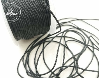 """2m braided cord 2 strands type rope """"Black"""" - 1.5mm"""