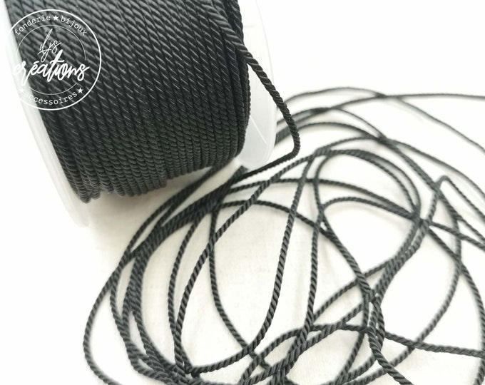 "2m braided cord 2 strands type rope ""Black"" - 1.5mm"