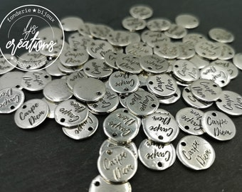 Silver tin medal finish 925 - '12mm 'Carpe diem' made in France