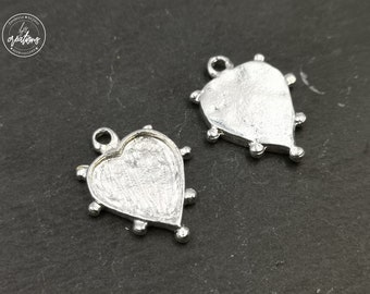Heart 15x15mm - finish Tin pendant 925 sterling silver