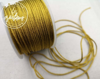 """2m braided cord 2 strands rope type """"Golden Brown"""" - 1.5mm"""