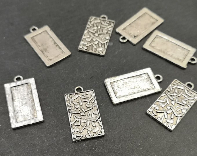 End of stock - 15x26mm pendant - silver metal