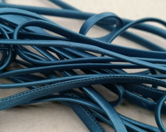 End of stock -1 m cord spaghetti frilly 7 mm - gray blue - 70260-7