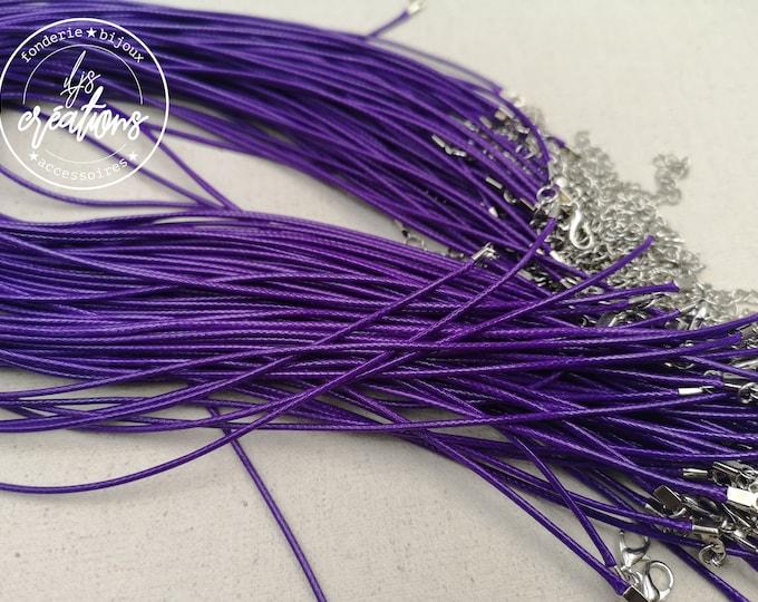 """1 round cotton neck """"Violet"""" 2mm"""