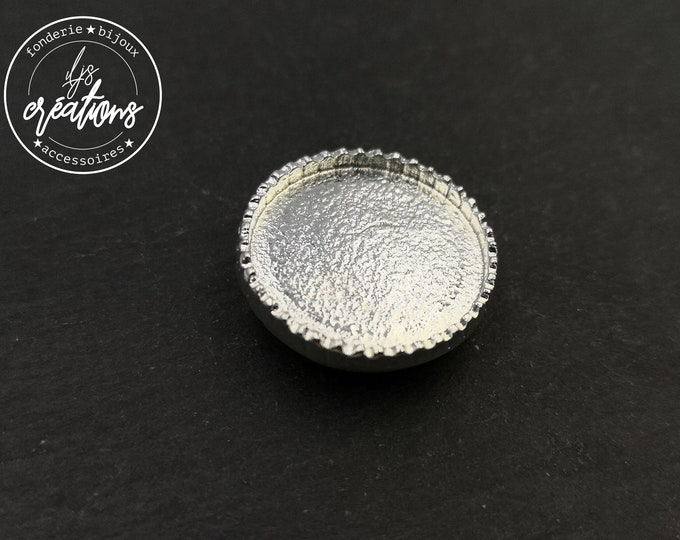 Round leather pass - 20.50mm tin white finish silver 925 - made in france