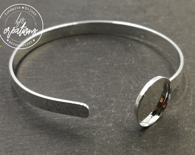 Ribbon bracelet 5x1mm with bowl ø15x2mm - Brass / tinplate silver finish 925 - Made in France