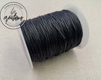 10m waxed cotton cord - Black