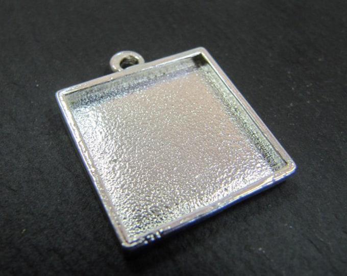 Support pendant square 15x15x2mm - Tin finish 925 Silver - Made in France