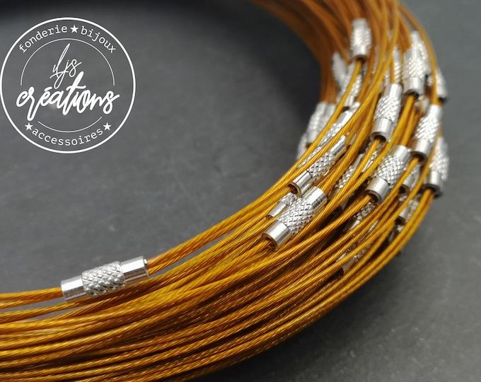 "1 neck neck cable ""Marron / orange"" - 45cm"