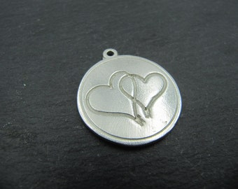 Tin medal 20mm - double hearts