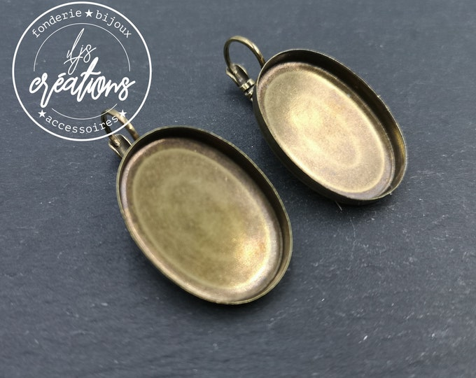 New - Earrings with 18x25x3mm sleepers - brass brass finish brass