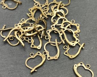 End of stock - Lot of 2 earrings - brass finish brass