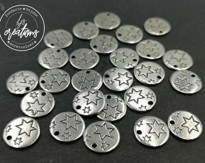 """Silver tin medal finish 925 - 10mm """"Stars"""" made in France"""
