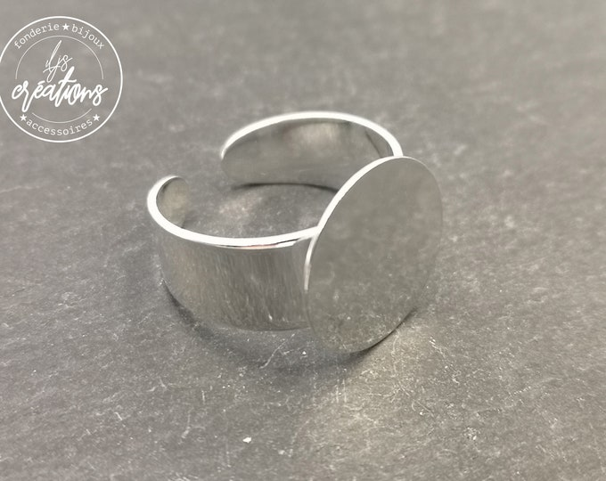 Adjustable ring with tray - brass finish silver 925