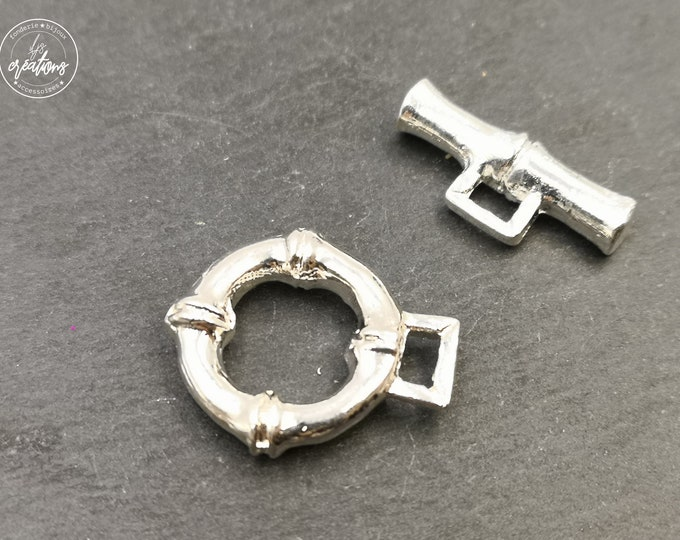 Made in France - clasp T bamboo o22mm eyeball - Tin finish 925 sterling silver