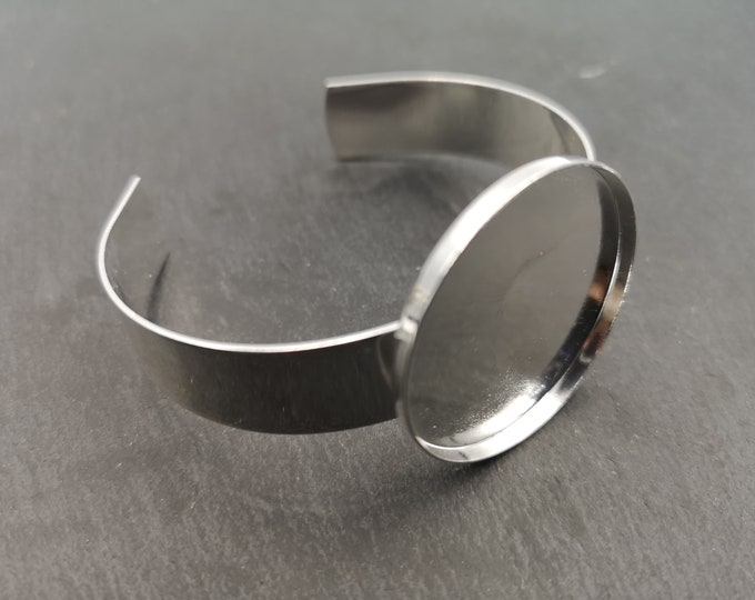 Made in France - 13mm ribbon bracelet and bowl of 25x2mm - Silver finish brass 925