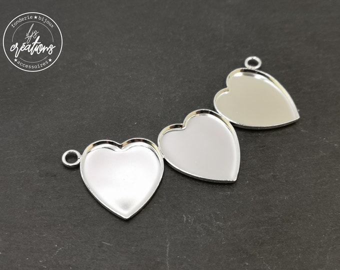 """Pendant """"Multi hearts"""" 3 21x23mm hearts - 925 Silver finish brass"""