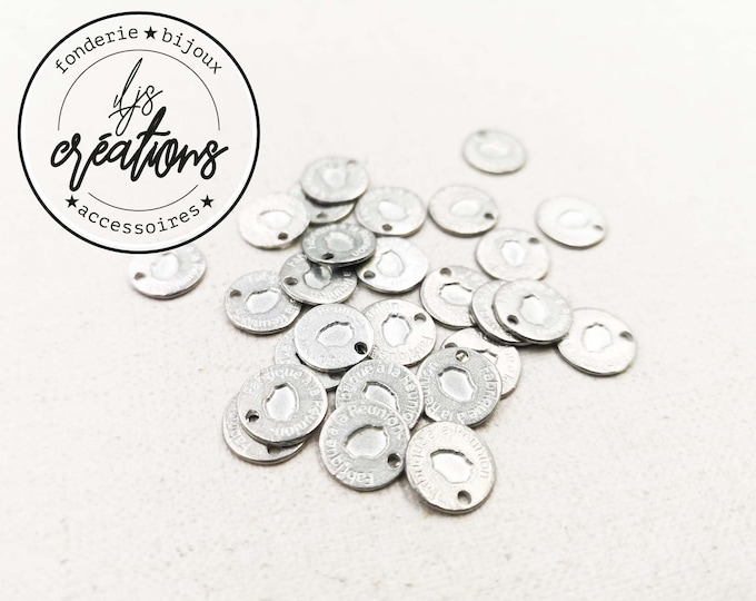 """Tin Medal - Round - 10mm """"Made in Reunion"""" made in France"""