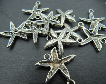 Made in france - Starfish - antique 925 Silver finish pewter connector - 20mm