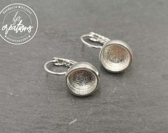 New - Round earrings -11mm with 9x3mm bowl with sleepers - tin/brass silver finish 925