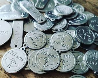 100 custom ø18mm white iron medals-white iron wedding, wedding, birthday, bapteme....