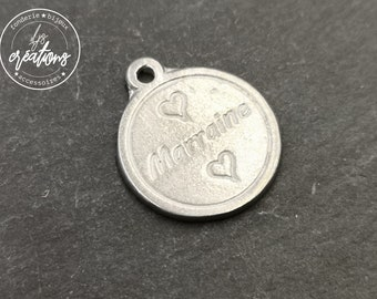 White Iron medal ø17mm-godmother