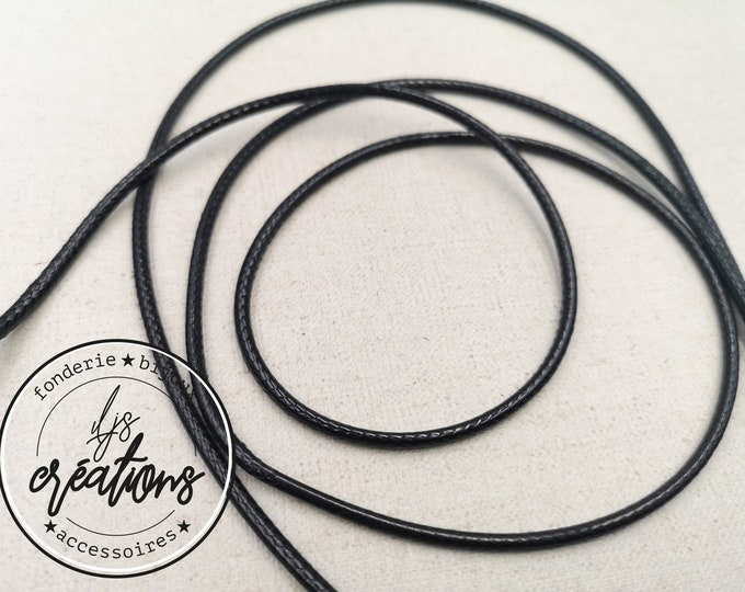 1m waxed cotton cord - Black