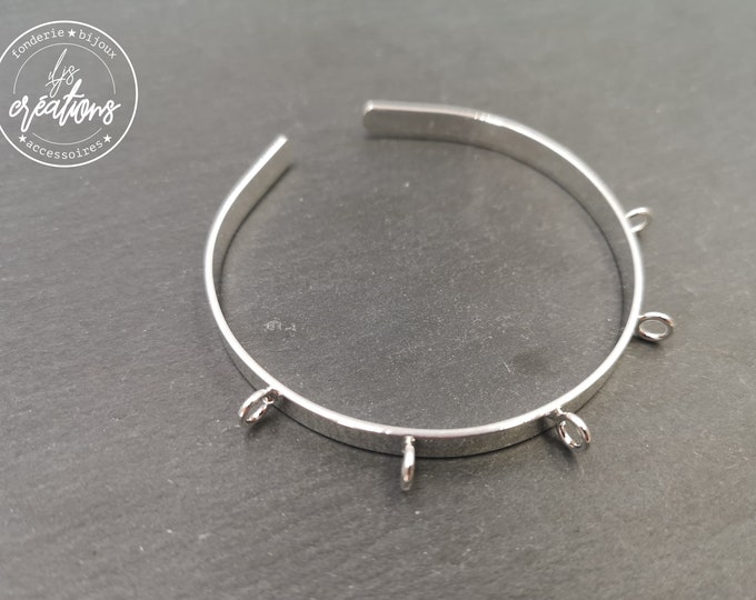 Made in France - 5x1mm with 5 rings Ribbon Bracelet - brass/Tin finish 925 Silver - Made in France