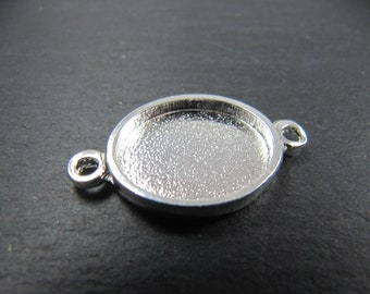 Support oval connector with 15x18x2mm Tin finish 925 Silver - made in France